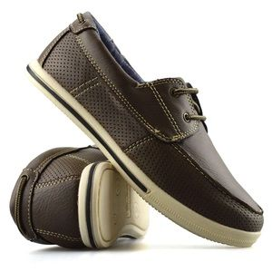 SMART FIT Casual Deck Shoes Brown Boys Size 3